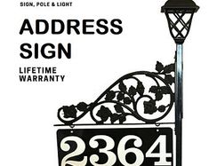 Driveway Address Sign - Double Sided Reflective Address 911 with pole & double scroll and 2 plant hooks with Solar Light Address Sign Address Numbers, Address Signs, Garden Fence Art, Plant Hooks, Home Landscaping, Decorative Panels, Custom Metal, Solar Lights, Boyfriend Gifts