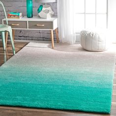 nuLOOM Handmade Soft and Plush Ombre Shag Rug (5' x 8') (Turquoise), Blue, Size 5' x 8' (Polyester, Solid)