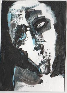 "abstract zombie, original art, aceo, 2.5""x3.5"" acrylic on bristol board"