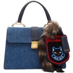 Miu Miu Blue Denim Raccoon Tail and Cat Bag ($1,840) ❤ liked on Polyvore featuring bags, handbags, shoulder bags, blue, cat handbag, miu miu handbags, blue purse, cat key ring and embroidered handbags