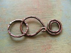 Copper Antiqued Swirl Clasp with Ring