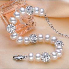 Real Natural freshwater pearl bracelet Sterling Silver beads, chain link bracelet