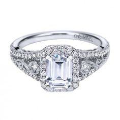 14K White Gold Emerald Cut Halo Engagement Ring