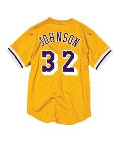 4c6409bb8 Magic Johnson Name   Number Mesh Crewneck Los Angeles Lakers