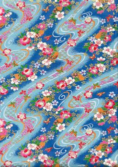 Blue Fan and Butterfly Japanese Yuzen Chiyogami Washi Paper Sheet 23 x 15 cm (9 x 6 inches) via Etsy