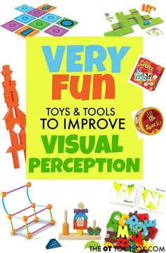 Use these toys and tools in your classroom to help kids develop and improve visual perception needed for handwriting, reading, and writing. Visual Motor Activities, Visual Perceptual Activities, Learning Activities, Activities For Kids, Creative Activities, Occupational Therapy Activities, Occupational Therapist, Visual Memory, Vision Therapy