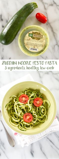 This 3-ingredient zucchini noodle pesto pasta is what everybody on a diet has been waiting for. Skip high calorie pasta and opt for this recipe instead.
