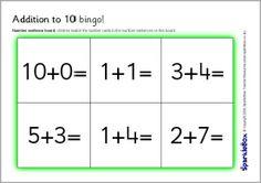 Yhteensä 10 bingo (pelaa myös muistipelinä :) 0-10.