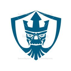Neptune Skull Trident Crown Crest by patrimonio on Icon style illustration of Skull of Neptune wearing Trident Crown with beard set inside Crest shield on isolated background. Find Icons, Trident, Freelance Illustrator, Social Media Graphics, Mythical Creatures, Vector Art, Vector Stock, Skull, Crown