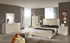 Luxor Modern Beige Lacquer Italian Bedroom Set   Classic 2 Modern Furniture Store - from $3,100, platform bed, no storage