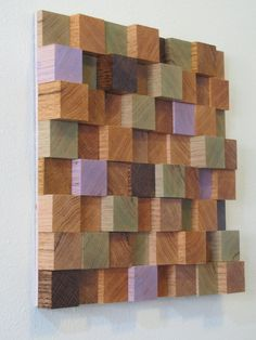 SALE Handmade Wooden Block Sculpture Art Wall Hanging (Small) - in browns, green and lavender