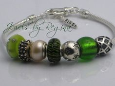 Shiny Green Star -  Authentic .925 Silver CARLO BIAGI Charm Bead Bracelet -  ReginasDreamCreation, $195.00