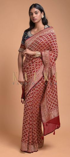 Apple Red Saree In Georgette With Bandhani Print And Weaved Checks Online - Kalki Fashion Indian Fashion Dresses, Indian Designer Outfits, Indian Outfits, Net Blouses, Red Saree, Indian Wear, Indian Style, Georgette Sarees, Beautiful Saree