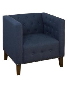 Zoe Transitional Blue Wood Polyester Nailhead Trim Accent Chair