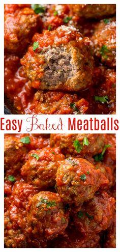 Meatballs Recipe Video, Easy Baked Meatballs, Baked Meatball Recipe, Meatball Bake, How To Cook Meatballs, Meatball Recipes, Simple Meatball Recipe, Easy Italian Meatballs, Ground Beef Meatballs
