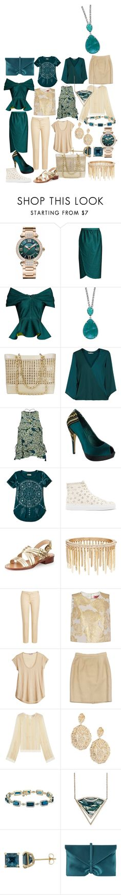 """The teal and tan mostly dressy capsule wardrobe"" by tharusmiles ❤ liked on Polyvore featuring Chopard, Emilio De La Morena, Effy Jewelry, Chanel, Halston Heritage, Scotch & Soda, Menbur, Hollister Co., Simone Rocha and Pour La Victoire"