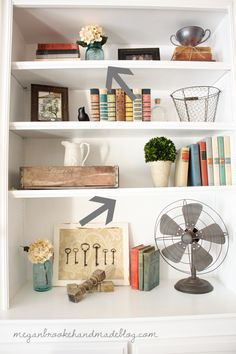 How To Decorate & Style Bookshelves.... I like these decorations but I full plan on decorating my bookshelves with books :)