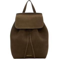Mansur Gavriel Brown Suede Mini Backpack ($635) ❤ liked on Polyvore featuring bags, backpacks, brown, mini backpack, studded backpack, brown bag, mansur gavriel and brown backpack
