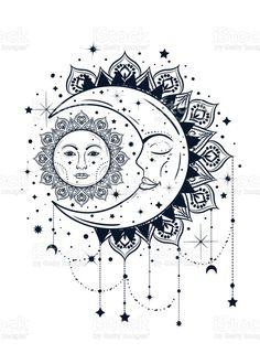 Mandala Tattoo Design, Mandala Art, Moon Tattoo Designs, Mandala Drawing, Mandala Sun Tattoo, Celestial Tattoo, Moon Sun Tattoo, Sun Tattoos, Body Art Tattoos