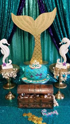 Leonie R's Birthday / Mermaid - Photo Gallery at Catch My Party Mermaid Birthday Decorations, Mermaid Theme Birthday, Little Mermaid Birthday, Little Mermaid Parties, Mermaid Barbie, Mermaid Fin, Mermaid Baby Showers, Party Themes, Party Ideas