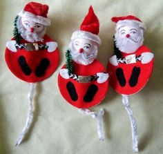 3 Vintage Christmas Package Gift Ties Candy Holder Chenille Felt Santa Claus in Collectibles | eBay