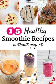 Not a fan of yogurt in your healthy smoothies? Find 15 smoothie recipes without yogurt in this roundup, many of which are also vegan and gluten free.   healthy smoothies   easy smoothie recipes   berry smoothies   green smoothies   #food #nutrition #recipe #recipes #smoothie #smoothies #vegan #glutenfree #healthy #healthyrecipe #healthybreakfast #healthysnack