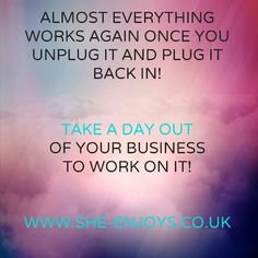 Take time out of your business to work on your business! Just £35 for a business and personal improvement day!