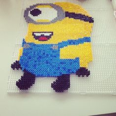 Despicable Me Minion perler beads by maikewellenberg