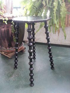 SOLD  Sewing Thread Spool Table Black Folk Art Octagon Stand by twysp2 for sale on eBay