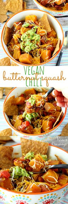 Vegan Butternut Squash Chili- savory, fresh, slightly spicy chili takes a cozy cue from fall with a Southwestern twist you're sure to love. This satisfying chili is packed with so much flavor and texture, carnivores and herbivores will be all over this one. (gluten-free, healthy and vegan)