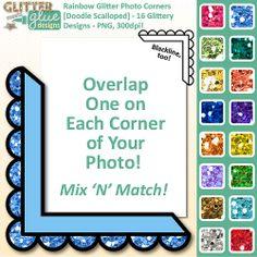 Rainbow Glitter Photo Corners Clipart [DOODLE SCALLOPED] - 16 Colors - Like A Frame! #clipart #teacherspayteachers #photocorner