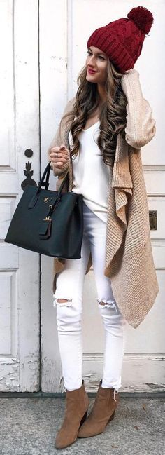 #winter #fashion /  Red Beanie   Camel Coat   Camel Booties