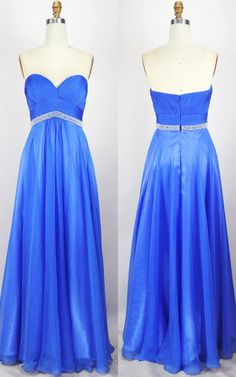 Royal Blue mpire Sweetheart Chiffon Floor Length Beading Long Prom Dress