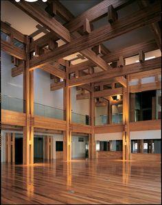 Kengo Kuma. Yusuhara Town Hall, Yusuhara, Takaoka, Kochi, Japan © Mitsumasa Fujitsuka.