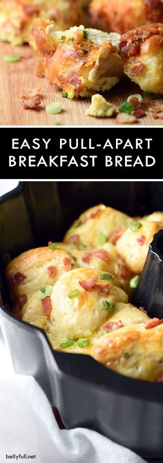 In this easy Breakfast Pull-Apart Bread you can have your eggs, bacon, and toast all in one!