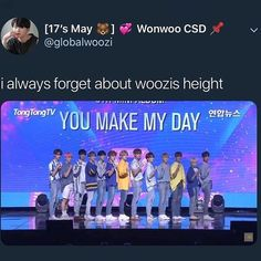 I'm the same height at woozi so that's what I would look like if I stood next to them all 😂😂 Seventeen Memes, Seventeen Woozi, Seventeen Debut, Diecisiete Memes, Funny Kpop Memes, Astro Sanha, Day6 Sungjin, Won Woo, Meanie