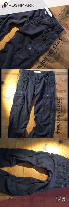 "J. Crew cargoes in black, city fit, size 4 Hands me downs that are too big for me. Minimal wear. Color is a very very dark grey or black. 29.5"" inseam full length, 26"" rolled & buttoned up J. Crew Pants Straight Leg"