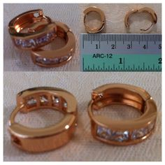 9K Rose Gold-filled small hoop earrings with CZ 'bling' - AUD$12.00 + postage or local pick up available.