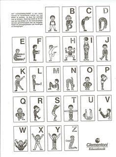 * Body spelling, kinesthetic, use body to learn alphabet, sight words Physical Activities For Kids, Gross Motor Activities, Physical Education Games, Alphabet Activities, Kids Education, Preschool Activities, Movement Activities, Kids Yoga Poses, Yoga For Kids