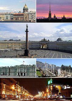 Vista de San Petersburgo y la Catedral de San Isaac, la Fortaleza de San Pedro y San Pablo y la Isla Zayachy, La Plaza del Palacio, el Palacio de Invierno, el Peterhof, y el Nevsky Prospekt.