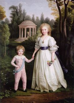 A portrait of Louis-Charles and Marie-Therese Charlotte, children of Louis XVI and Marie Antoinette by Ludwig Guttenbrunn.