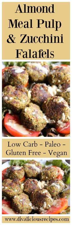 Almond meal pulp and zucchini falafels are a great way to use up left over almond meal from  home made almond milk. Recipe - http://divaliciousrecipes.com/2014/05/09/almond-meal-and-zucchini-falafels/