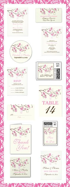 Mason jars and #pink cherry blossoms  #wedding #invitations, and matching #stationery. #weddings, #bride, #invites, #masonjars #cherryblossoms See more designs http://www.zazzle.com/weddings_?rf=238228936251904937