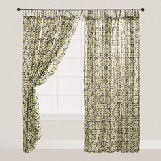 One of my favorite discoveries at WorldMarket.com: Green and Black Geo Crinkle Voile Tie Top Curtains, Set of 2