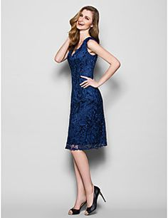 Mother of the Bride Dress Knee-length Sleeveless Lace Sheath/Column Dress. Get unbeatabe discounts up to 70% Off at Light in the box using Mother's Day Coupons.