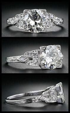 Art Deco diamond engagement ring with a 1.40 carat European-cut center diamond, circa 1920s-1930s. Via Diamonds in the Library.