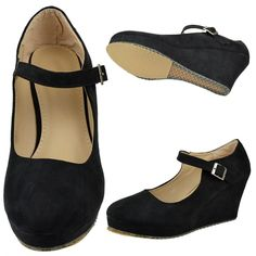 1ad8475a79e Womens Platform Mary Jane Shoes Faux Suede Ankle Strap Wedge Pumps Black Sz  9  TGByKSC