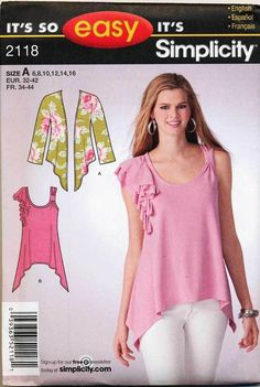 SIMPLICITY SEWING PATTERN 2118 MISSES SZ 6-16 EASY KNIT TOP & CARDIGAN #Simplicity #SewingPattern