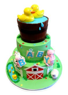 farmhouse+fun+shower+sheet+cakes   Farm Themed Baby Shower Cake - CMNY Cakes