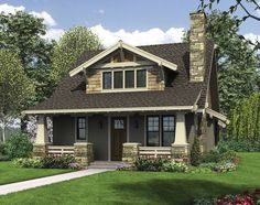 This bungalow is a modern take on the classic Craftsman house plan. The exterior features tapered front columns, a deep, covered front porch. Craftsman Style Homes, Craftsman Bungalows, Craftsman House Plans, Craftsman Bungalow House Plans, Small Bungalow, Craftsman Cottage, Bungalow Homes Plans, Dormer Bungalow, Craftsman Porch